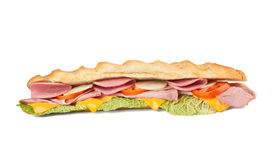 Long sub baguette sandwich Royalty Free Stock Image