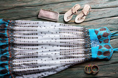 Long summer dress and sandals. Stock Images