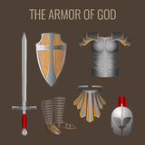 Long sword of spirit, readiness shield, armour salvation helmet. Armor of God collection of elements. Long sword of the spirit, readiness wooden shield of faith Royalty Free Stock Photos