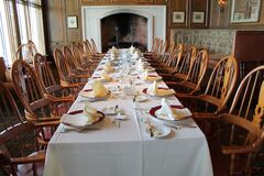 Long table formal settings Royalty Free Stock Image