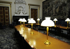 Long table with lamps Stock Photo
