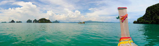 Long tail. Boat panorama in asia Royalty Free Stock Photography