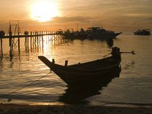 Long Tail Boat. At sunset on Koh Tao Royalty Free Stock Images