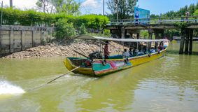 Long-tail boat in action, Thailand royalty free stock photography