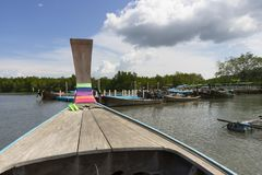 Long tail boat against blue sky in Phang Nga Bay. Thailand Royalty Free Stock Images