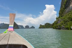 Long tail boat against blue sky in Phang Nga Bay. Thailand Stock Image