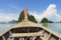 Long tail boat against blue sky in Phang Nga Bay. Thailand Stock Photography