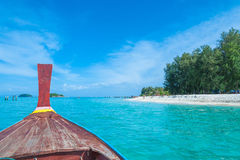 Long tail boat against blue sky and sea, Thailand Royalty Free Stock Image