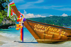 Long tail boat on azure water of Andaman Sea Stock Images