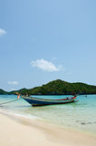 Long tail boat on the beach Royalty Free Stock Images