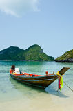 Long tail boat on the beach Stock Photos