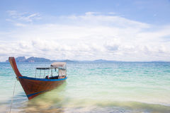 Long Tail Boat on beach Stock Photo