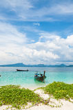 Long tail boat on the beach.  Royalty Free Stock Photography