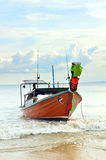 Long tail boat. On the beach Royalty Free Stock Photos