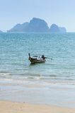 Long Tail boat on the beach in Krabi Thailand Stock Image