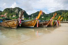 Long tail boat at the beach. Long tail boat at the beach in Phi Phi island,Thailand Royalty Free Stock Images