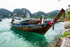Long tail boat at the beach. Long tail boat at the beach in Phi Phi island,Thailand Royalty Free Stock Photos