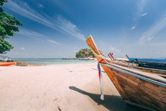 Long Tail boat at the beach Royalty Free Stock Photography