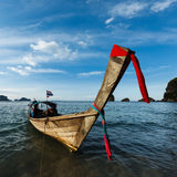 Long tail boat on beach, Thailand Stock Image