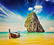 Long tail boat on beach, Thailand Stock Photo