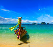 Long tail boat on beach, Thailand Stock Photos