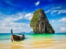 Long tail boat on beach, Thailand Royalty Free Stock Photos