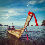 Long tail boat on beach, Thailand Royalty Free Stock Images