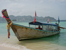 Long tail boat, Krabi Thailand. A traditional Thailand long tail boat on the beach Karbi Thailand Royalty Free Stock Photography