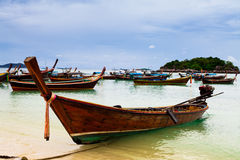 Long tail boat on  beach on tropical island, Koh Lipe, Andaman s Royalty Free Stock Photo