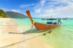 Long tail boat at a beautiful beach, Thailand Royalty Free Stock Photography