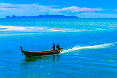 The long tail boat with blue sky. Stock Images