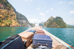 Long-tail boat on Cheow Lan Lake, Khao Sok National Park in sout Stock Photography