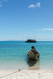 Long Tail Boat in Clear Water and Blue sky Stock Photos