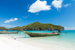 Long Tail Boat in Clear Water and Blue sky Stock Image