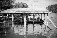 Long tail boat dock in the canal. Bangkok Thailand royalty free stock photography