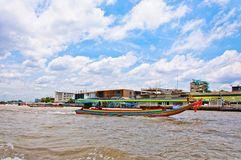 Long tail boat down Chao Praya river in Bangkok Royalty Free Stock Photo