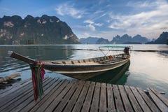 Long-tail boat iin Khao Sok Stock Images