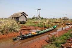 Long tail Boat - Inle Lake Myanmar Burma Stock Image