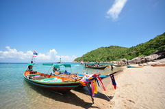 Long tail boat at, Ko Tao Stock Photo