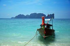 Long tail boat at Koh Phi Phi, Thailand. A Long tail boat on Long beach in Koh Phi Phi, Thailand Stock Photos