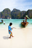 Long tail boat on Koh Phi-Phi, Thailand Royalty Free Stock Images