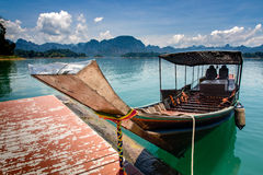 Long tail boat local water transport ship in southern of thailan Stock Photos