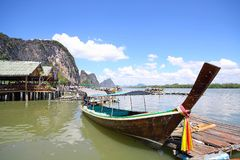 Long tail boat at phangnga bay Stock Photos