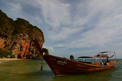 Long-tail boat. Railay beach. Krabi. Thailand Royalty Free Stock Photos
