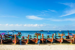Long tail boat on sand beach Andaman sea Stock Images