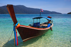 Long tail boat sit on the beach, Rawi island, Thai Stock Photos
