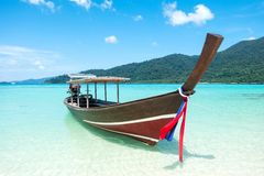 Long tail boat sit on the beach Royalty Free Stock Photography