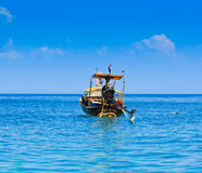 Long tail boat in the south of Thailand. Long tail boat at Phi Phi island in Krabi province of Thailand Stock Photo