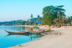 Long Tail boat stop at the beach  ,Thailand Royalty Free Stock Photography
