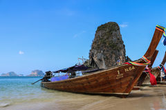 Long tail boat in Thaialnd. Long tail boat or scorpion boat in Poda island at Krabi andaman sea south of Thailand Royalty Free Stock Image
